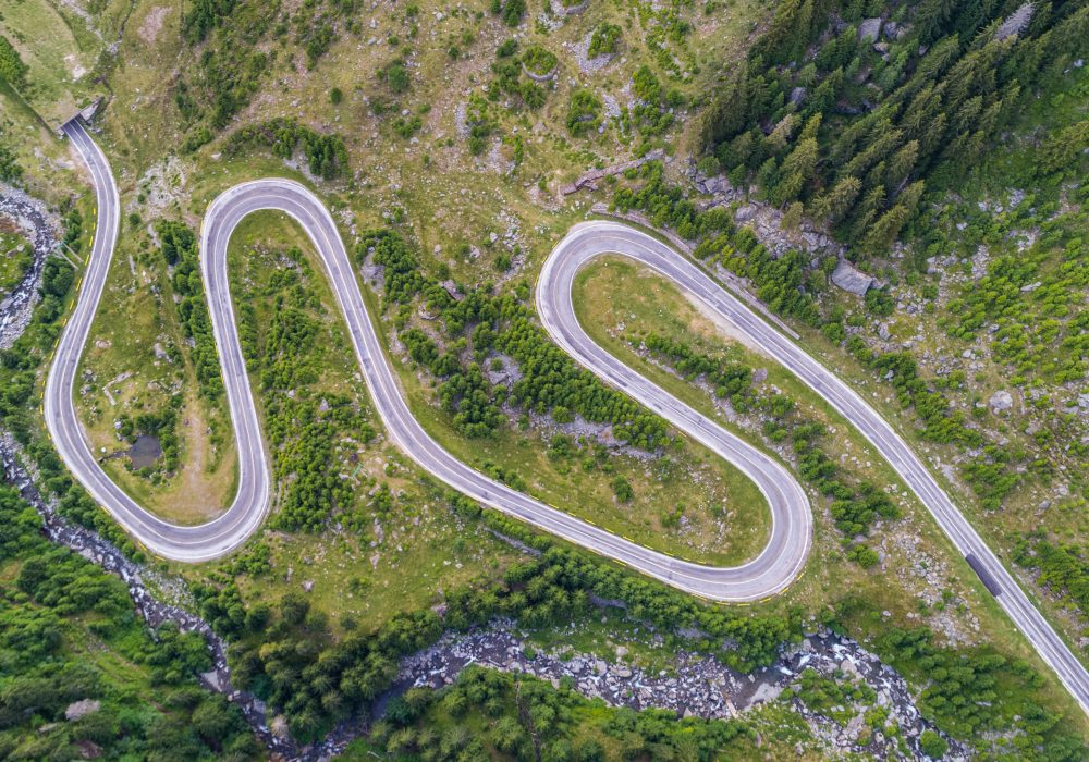 Transfagarasan mountain road in Romanian Carpathians, Romania